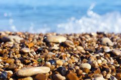 Sea stones and sea the coastline of seashells on a background of sea and blue royalty free stock image