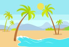 Coastline Seaview Poster Tropical Beach, Sea Sand. And palm trees, mountains under blue sky, exotic lagoon on tropic island vector summer ideal resort royalty free illustration