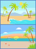Coastline Seaview Poster Tropical Beach, Sea Sand. Coastline seaview poster with tropical beach, sea sand palm trees, mountains and sunset or sunrise ship on vector illustration
