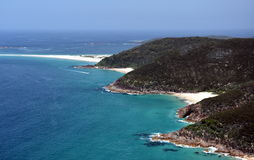 Coastline of Shoal bay on a sunny day from Mount Tomaree Lookout Royalty Free Stock Photography
