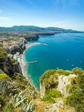 Coastline Sorrento and Gulf of Naples, Italy. Daylight vertical image of cliff coastline Sorrento and Gulf of Naples - popular tourist destination in Italy royalty free stock image
