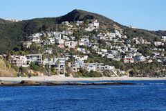 Coastline in South Laguna Beach, CA. Image shows the coastline between The Montage Resort (left out of view) and Aliso Beach (lower right) in South Laguna Beach stock image