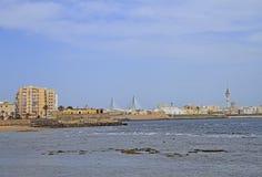 The coastline of city Cadiz in Spain royalty free stock photos