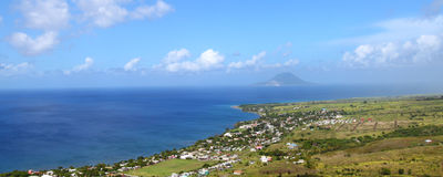 Coastline of St Kitts. Beautiful coastline of St Kitts from Brimstone Hill Fortress National Park Stock Image