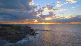 Coastline sunrise flight stock video footage