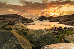 Coastline at sunset in Norway Stock Photo