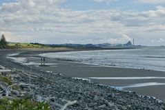 View to port Taranaki from Waiwhakaiho stock photography
