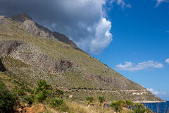 Coastline trail of Zingaro Park,  between San Vito lo Capo and Scopello Stock Photos