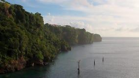 Coastline of tropical island. Kingstown, Saint Vincent and Grenadines. 09-11-2017 stock footage