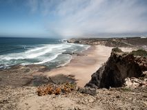 Beautiful view on the beach monte clerigo at the atlantic ocean Portugal Europe. royalty free stock photo