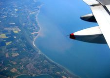 Coastline view from airplane royalty free stock image
