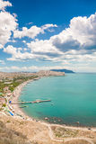 Coastline view. Beautiful view is opening from the very top wall of the old castle in Sudak, Crimea Stock Images
