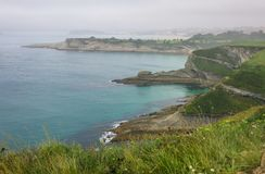 Coastline view from Cabo Mayor Lighthouse, Santander, Cantabria Stock Images