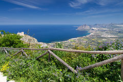 Coastline view from Erice Town Stock Image