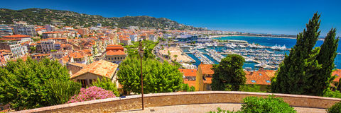 Coastline view on french riviera with yachts in Cannes city center, French riviera. Coastline view on french riviera with yachts in Cannes city center, French Stock Photo
