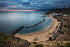 Coastline view of Playa de Las Teresitas beach and San Andres town of Tenerife, Spain. Coastline view of Playa de Las Teresitas beach, San Andres town and the Royalty Free Stock Photo