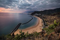 Coastline view of Playa de Las Teresitas beach and San Andres town of Tenerife, Spain. Coastline view of Playa de Las Teresitas beach, San Andres town and the Stock Photos