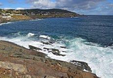Coastline view of Pouch Cove, NL Canada. Landscape along the Killick Coast, coastline with view of Pouch Cove, Avalon Peninsula, NL Canada stock photo