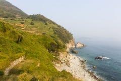 Coastline view with rice paddies. In Daraengi Village Royalty Free Stock Photography