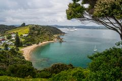 Coastline view from Tapeka Point Track with blue sky above in Russell, Northland, New Zealand royalty free stock photo