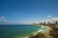 Coastline view of Tel-Aviv, viewed from Jaffa-medieval part of the city. stock photo