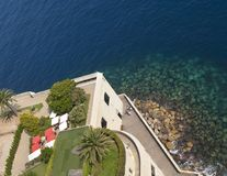 Coastline view from top of Monaco Aquarium. Mediterranean sea shore view from top of Monaco Ocean Museum stock image