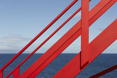 Coastline viewpoint with red stairs in Pico island. Azores. Port Royalty Free Stock Photography