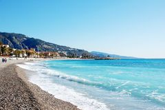 Coastline of village Menton - French Riviera - Fra. The beach of Menton village - French Riviera - France Stock Photography