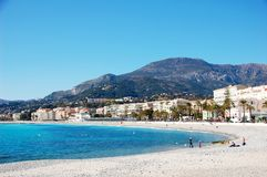 Coastline of village Menton - French Riviera - Fra. The beach of Menton village - French Riviera - France Royalty Free Stock Image