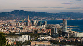 Coastline Vistas:  Exploring the Scenic city of  Barcelona. Royalty Free Stock Photography