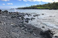 The coastlines of Maui, Hawaii on the road to Hana royalty free stock photo