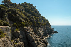 Coastlinie avec la roche, arbres en mer Méditerranée Photographie stock libre de droits