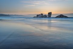 The coasts and beaches of Galicia and Asturias. Evening and night on the coasts and beaches of Galicia and Asturias where you discover the beauty of nature stock photo
