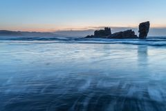 The coasts and beaches of Galicia and Asturias. Evening and night on the coasts and beaches of Galicia and Asturias where you discover the beauty of nature royalty free stock photography