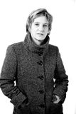Coat. A middle-aged lady in a winter coat royalty free stock photography