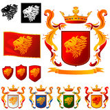 Coat of Arms 011 - Lions Head. Shield with ribbon, crown and flags with Lions Head Stock Image