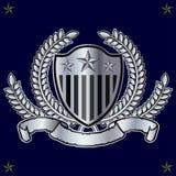 Coat of Arms 01c. Heraldic shield with banner, laurel wreath Stock Photo
