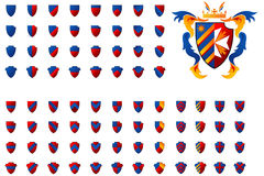 Coat of Arms. Set of 80 Coat of Arms in different colours and style Stock Images