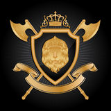 Coat of arms. Gold color on black background Stock Photos