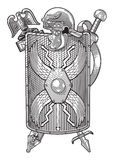 Coat of arms. Aquila, helmet, shield and sword Roman legionary form emblem. Vector detailed illustration for best prints Royalty Free Stock Image