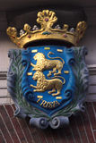 Coat of arms. Colourful Frisian coat of arms at the front of an ancient building Royalty Free Stock Image