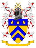 Coat of Arms. Armorially correct generic illustration, with blank ribbon for motto.  Crest and heraldic charges emblazoned on the shield are generic and may be Stock Photography