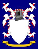 Coat of Arms. On a blue background, armorially correct generic illustration, with space for crest.  Ribbon and shield also left blank for motto and charges Royalty Free Stock Photography