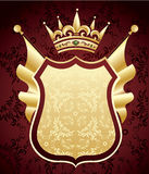 Coat of Arms. Red and golden coat of arms with flags vector illustration