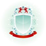 Coat of Arms. With heraldic lions, fleur de lis and banner royalty free illustration