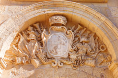 Coat of arms above entry in ancient part of Mdina, Stock Images