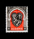 Coat of arms of Algiers, Coats of Arms of Algerian Cities serie, circa 1949. MOSCOW, RUSSIA - SEPTEMBER 3, 2017: Rare stamp printed in Algeria shows Coat of arms royalty free stock image