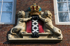 Coat of Arms of Amsterdam. On an old house in the center Stock Photo