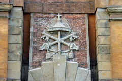 Coat of arms on the ancient gate Galliera in Bologna Royalty Free Stock Photo
