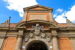 Coat of arms on the ancient gate Galliera in Bologna Royalty Free Stock Photos
